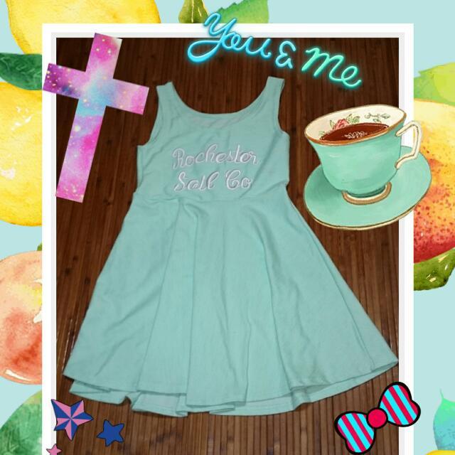 藍色收腰洋裝*春夏