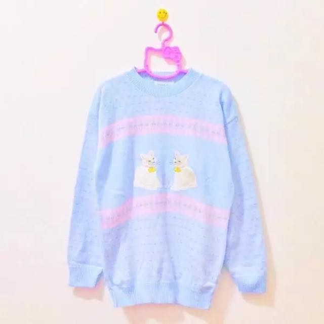 古着孤品只有一件!粉藍色少女貓咪毛衣