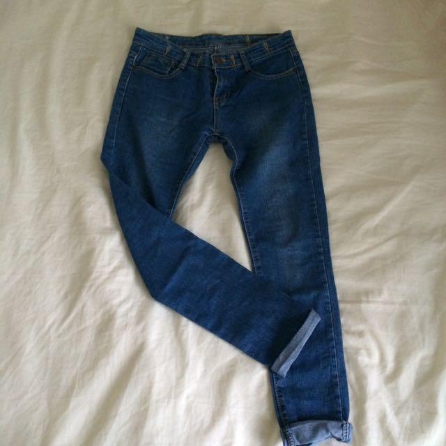 二手 藍色反折牛仔褲
