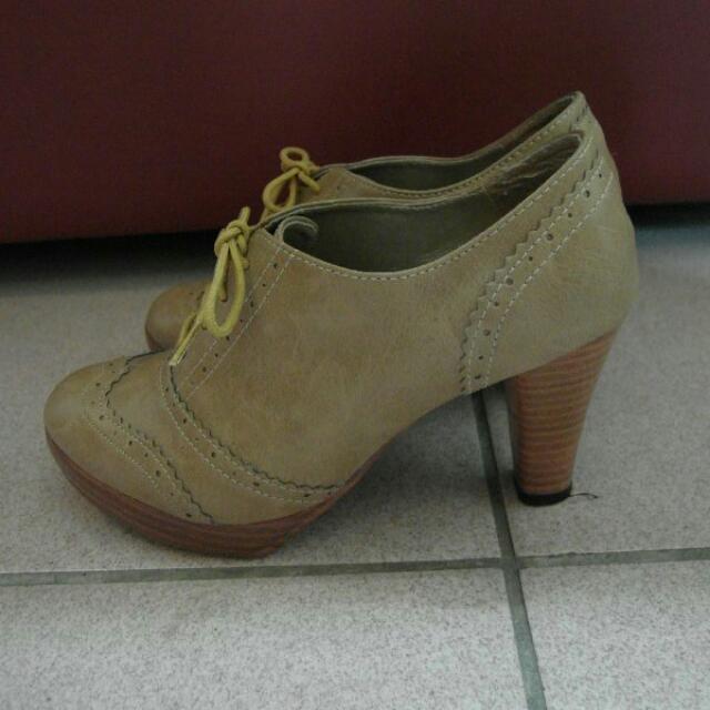 牛津厚底踝靴 牛皮粗跟圓頭真皮高跟鞋 24.5cm. 休閒鞋 上班OL 厚底鞋 (聖誕 交換 禮物)