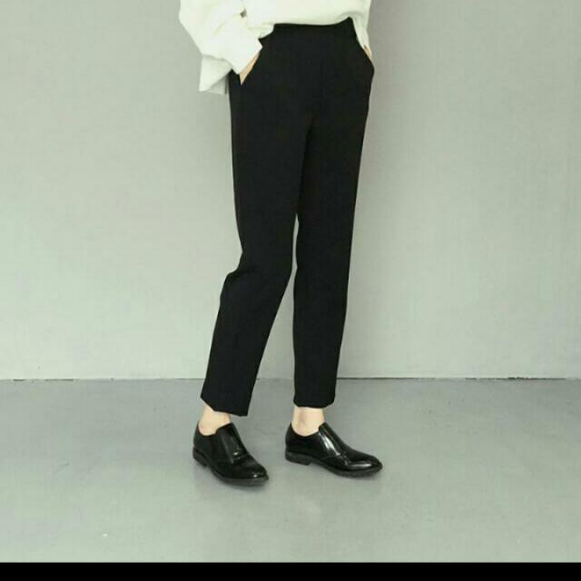 《現貨免等》限定款 半鬆緊小腳復古黑西裝寬褲 超顯瘦