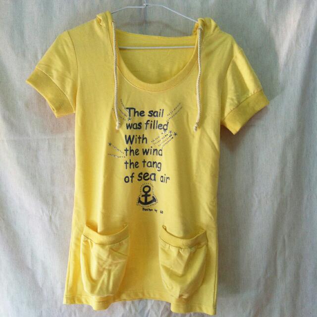 📍 代售 連帽黃色口袋上衣 船錨T