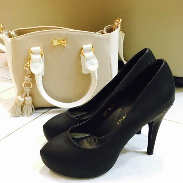 Air Space👠性感曲線包頭高跟鞋黑色