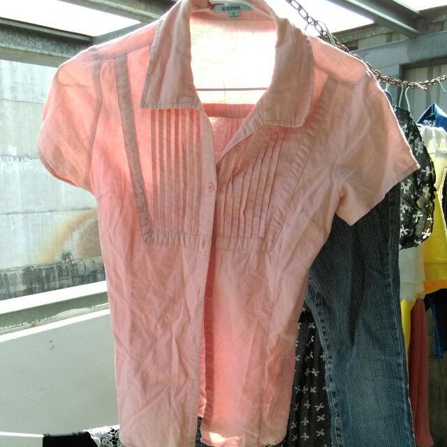 BLANO粉紅色短袖襯衫
