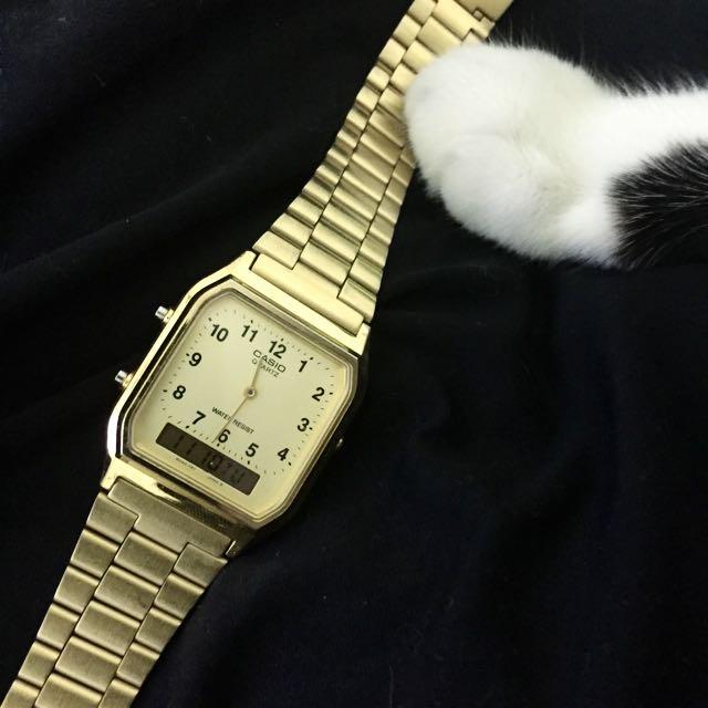 CASIO 復古 雙顯錶 質感金