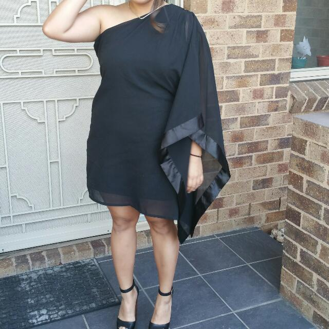 Venus Black Drape Dress