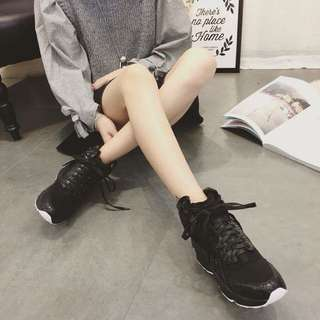 Freedom 韓國代購 街頭boy素色造型綁帶高筒運動鞋