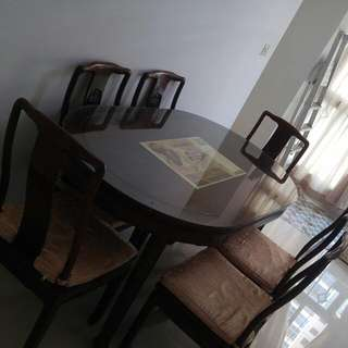 Antique Solid Wood Table & 6 Chairs