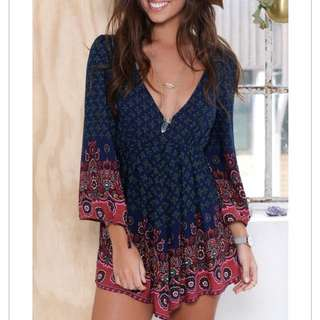 Navy Long Sleeve Playsuit Size M Brand New With Tags
