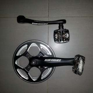 Used Eorobike crank 44 teeth and Shimano pedal.