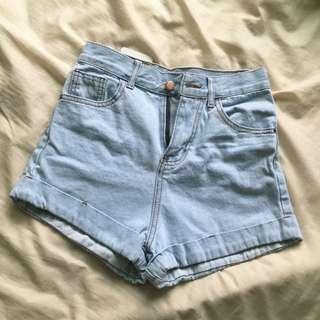含運全新淺藍牛仔高腰短褲