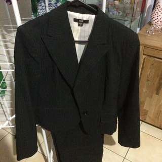Cue - Black Pinstriped Pants suit