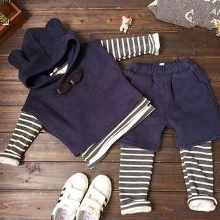 冬季男女童三件套條紋保暖套裝
