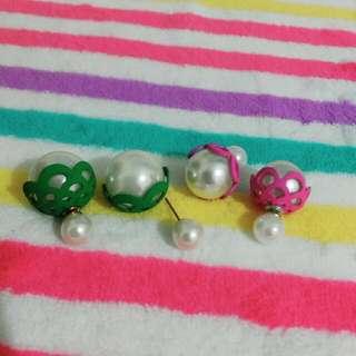 含運!!花苞式大小珍珠耳環-大粒丸,3種戴法,共2色