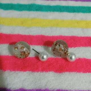 含運!!金箔+珍珠耳環-大粒丸,3種戴法