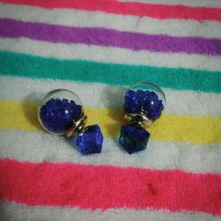 含運!!方塊+藍鑽耳環-大粒丸,3種戴法