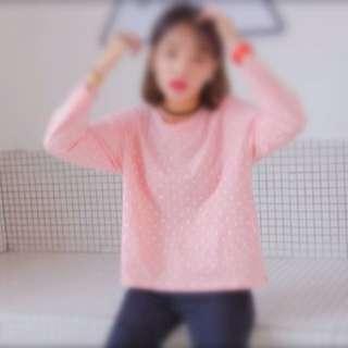 全新💕粉紅色圓點長袖踢