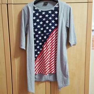 American Flag Long Sleeves Top