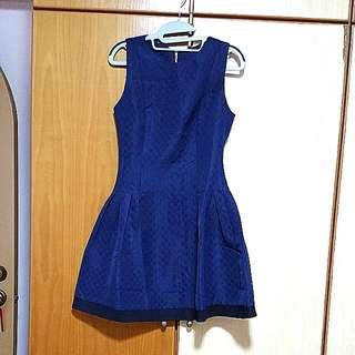 Dark Blue Printed Dress