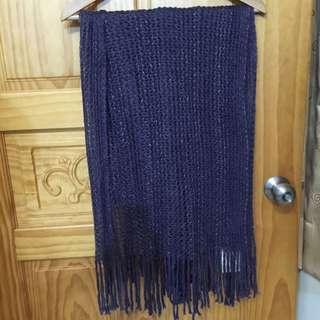 <全新>NET藍紫色流蘇針織毛圍巾