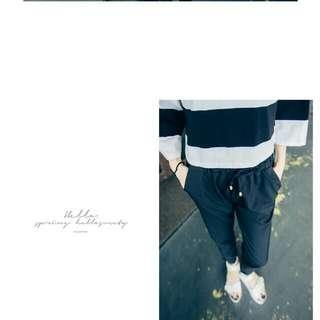 (全新)雪紡 腰鬆緊 口袋 老爺褲 長褲 白/黑