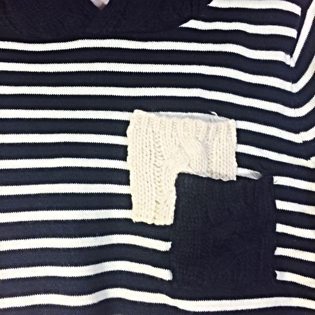 2⃣日式風格 難得一見針織連帽橫條