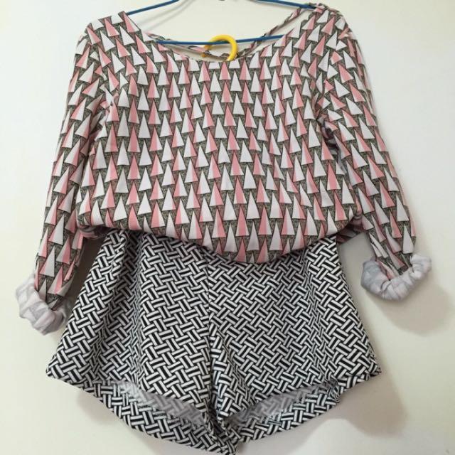 幾何上衣+短褲(含運)