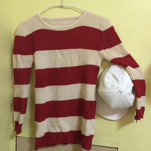 針織條紋衣