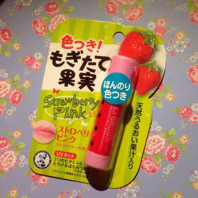 日本草莓味曼秀雷敦粉紅護唇膏