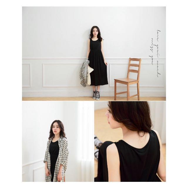 黑色縮腰百折長裙 洋裝