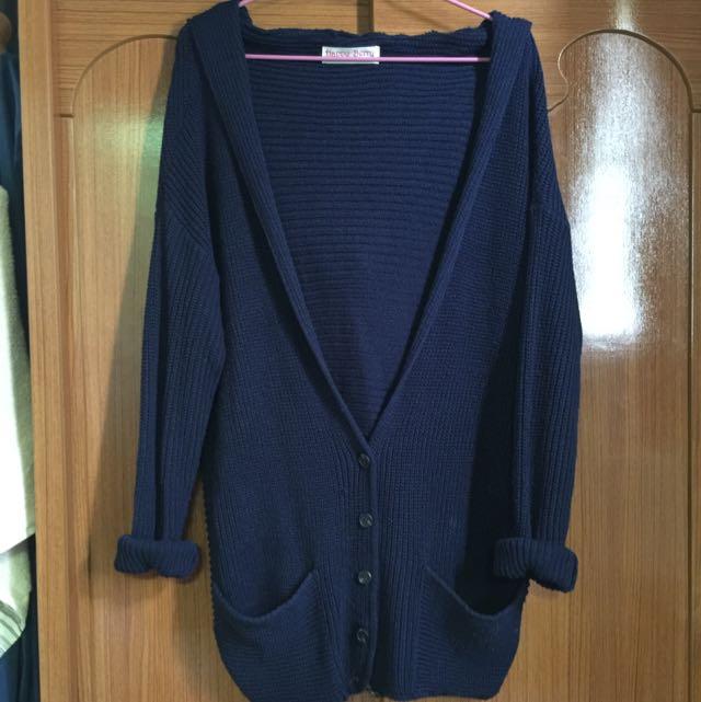 針織寬外套 深藍色