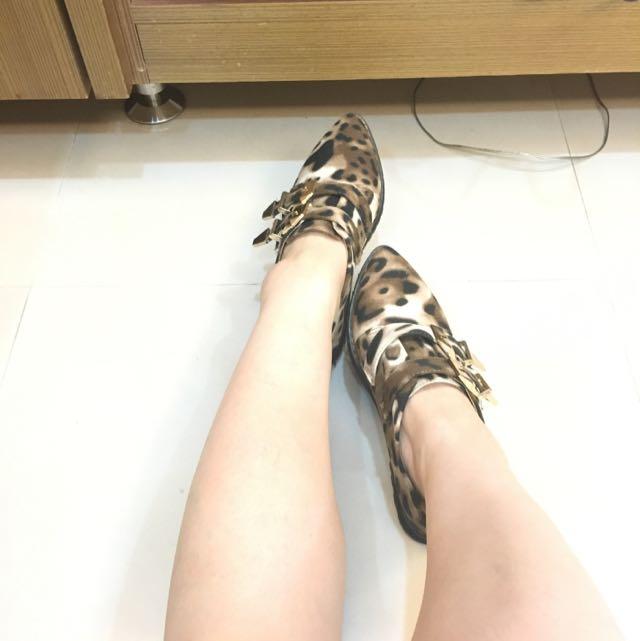 降價!個性暈染豹紋 尖頭厚底鞋 展示鞋39號