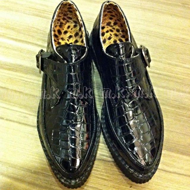 全新尖頭鱷魚紋 豹紋內裡 厚底鞋