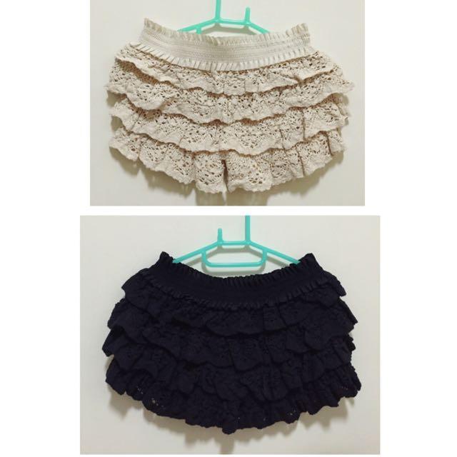 全新 甜美花邊蕾絲棉質褲裙 (黑、杏)