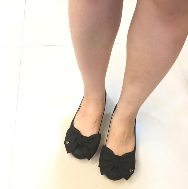 二手 蝴蝶結 黑色包鞋