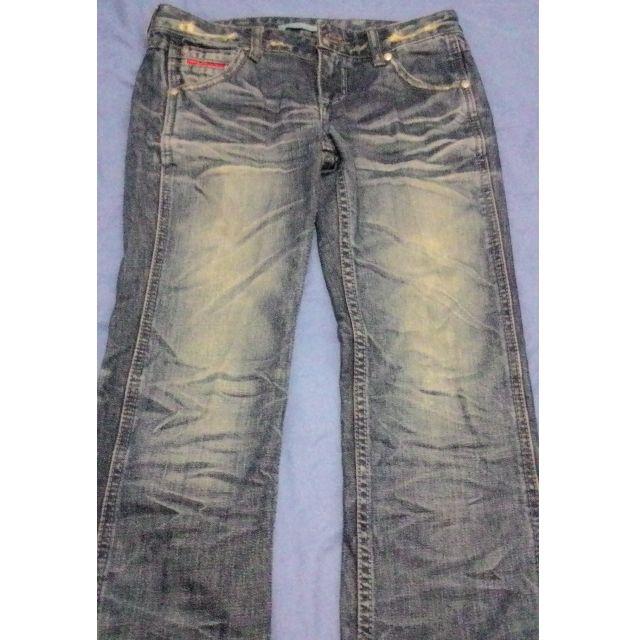 僅試穿 韓版 深藍抓皺刷白質感牛仔褲 顯瘦 百搭 小版男裝 #Levi's#Diesel#EDWIN#Lee 可參考