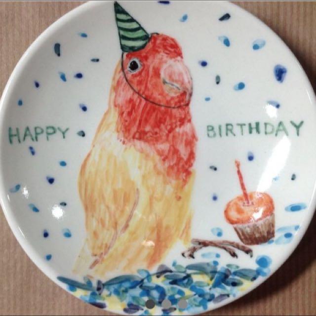 手繪鸚鵡生日盤 小碟 含運 文青 設計