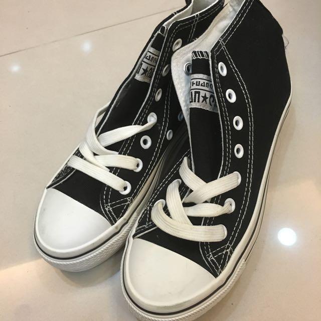降價!全新厚底黑色帆布鞋 all star類似款