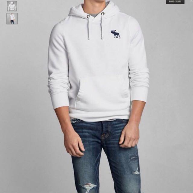 Abercrombie&Fitch 長袖鋪棉帽T 白色 XL 特價1750