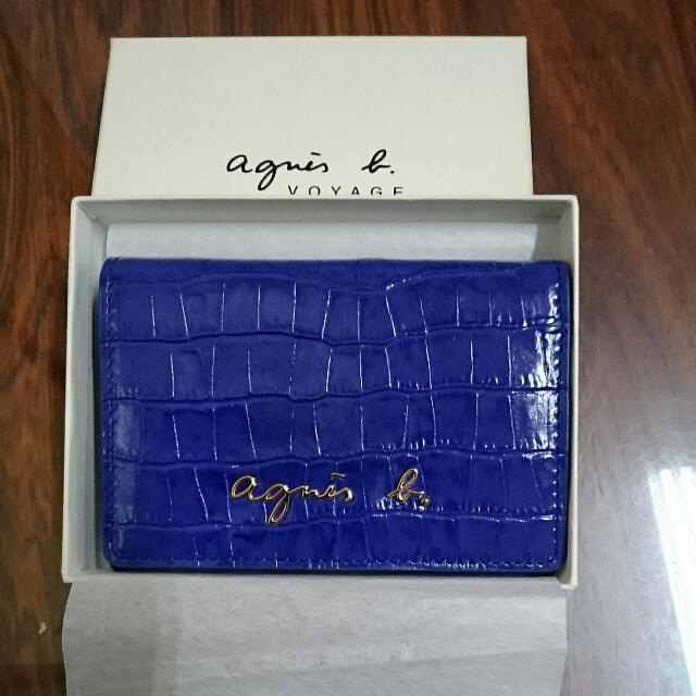 agnes b.鱷魚紋皮革翻蓋名片夾/藍
