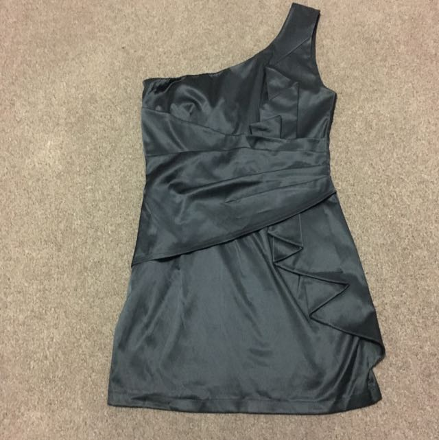 Asos Black One Shoulder Dress Sz 8