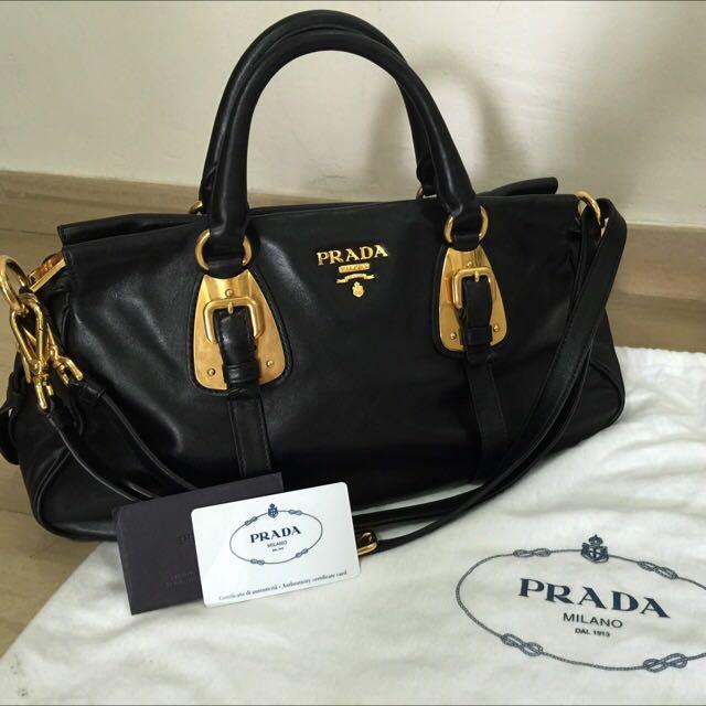 59e3b7757c32 Authentic Prada Bauletto Soft Calf in Black BN1903, Women's Fashion ...