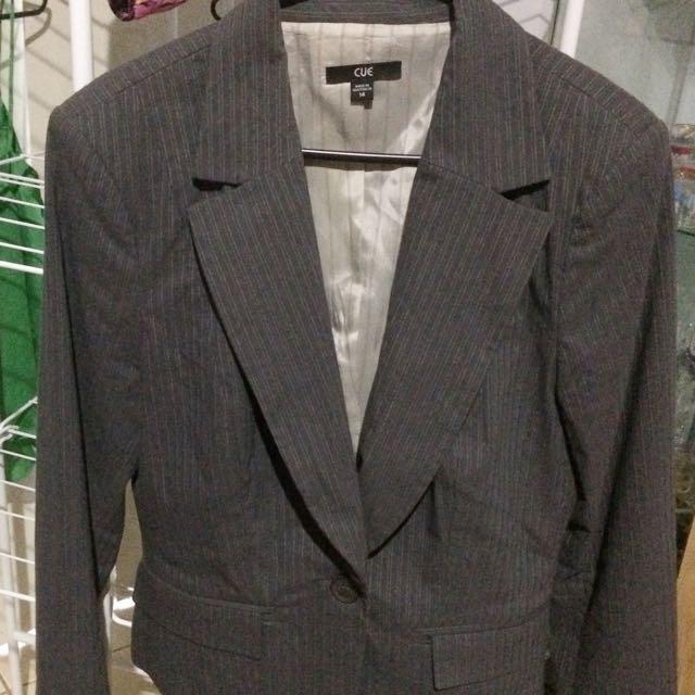 Cue- Mauve Pinstriped Pants Suit