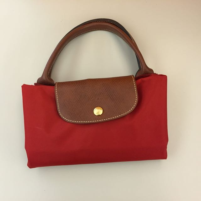 正品Longchamp紅色M號短把提包 5成新