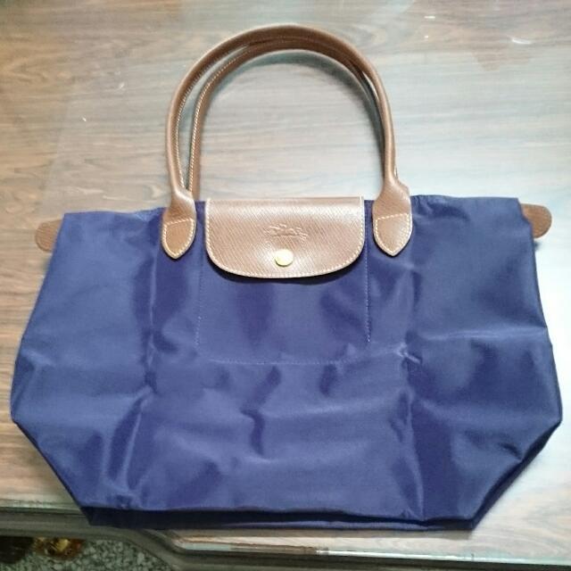 Longchamp 經典摺疊款式長提把水餃包/紫/小