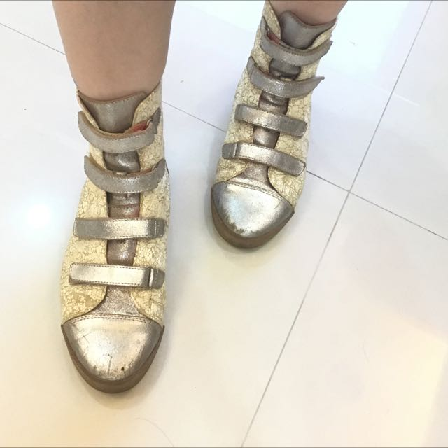 Tokyo bopper類似款 銀 白拼色 爆裂紋 短靴 二手鞋