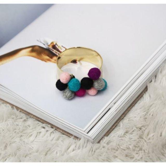 韓國代購Naning9正品韓版女首飾品 甜美可愛彩色毛球手鏈手鐲【NO520063】