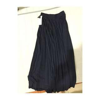 My Dear 深藍色摺紋長裙