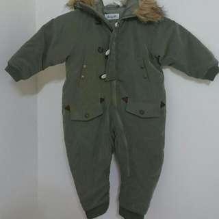 軍綠保暖連身工作服