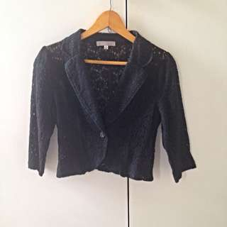 Tempt 3/4 Sleeve Cropped Lace Blazer